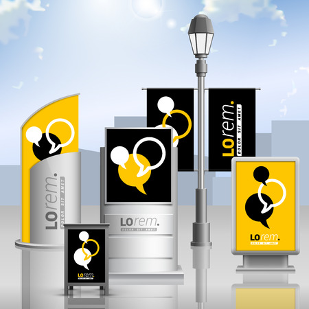 Illustration pour Black and yellow outdoor advertising design for corporate identity with dialog clouds. Stationery set - image libre de droit