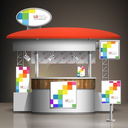 Exhibition Stand Template : White exhibition stand design with color square pattern booth