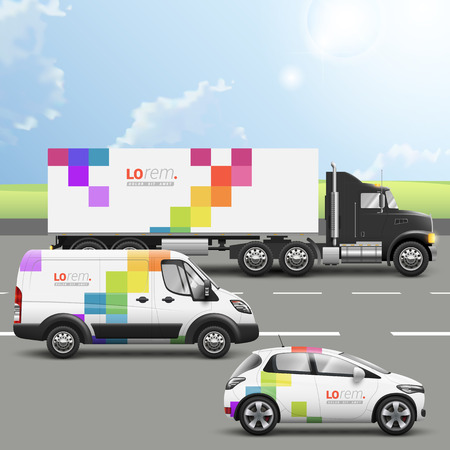 Illustration pour White transport advertising design with color square pattern. Templates of the truck, bus and passenger car. Corporate identity - image libre de droit