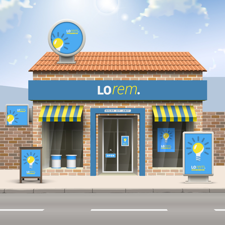 Illustration pour Blue store design with yellow light bulb. Elements of outdoor advertising. Corporate identity - image libre de droit