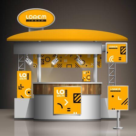Illustration pour Orange exhibition stand design with geometric pattern. Booth template. Corporate identity - image libre de droit