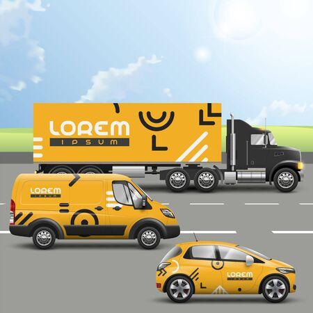 Illustration pour Orange transport advertising design with geometric pattern. Templates of the truck, bus and passenger car. Corporate identity - image libre de droit