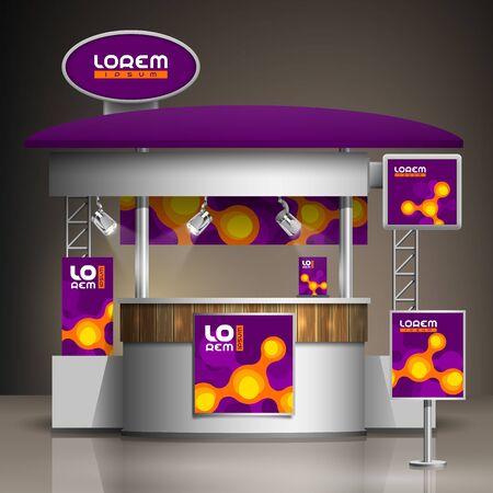 Illustration pour Purple exhibition stand design with orange molecules. Booth template. Corporate identity - image libre de droit