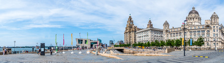 Liverpool waterfront Three Graces and Pier Head, UK