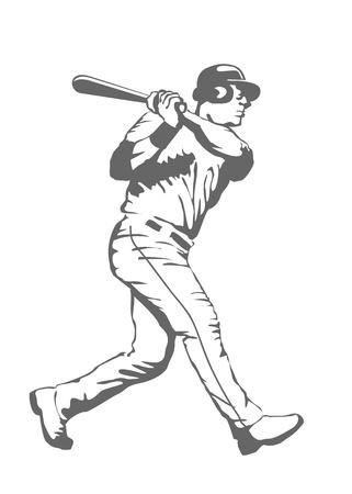 Illustration of a baseball player swinging the bat
