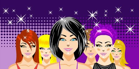 Beautiful women friends at nightclub concept. Illustration, vector