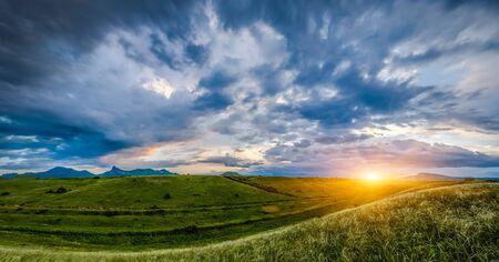 Photo pour Sunset over hills, landscape - image libre de droit