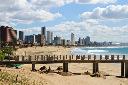 Cityscape and beach of Durban, South Africa