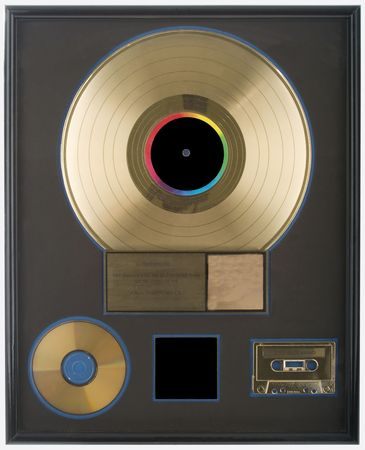 An authentic gold record award with all spaces blank for you to fill in.  All logos and trademarks removed.