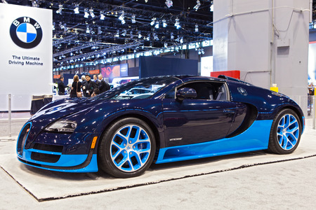 Chicago - February 13: A Bugati Veyron Vitesse on display February 13th, 2015 at the 2015 Chicago Auto Show in Chicago, Illinois.