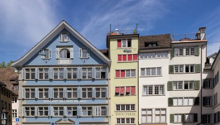 Zurich Switzerland 14 May 2015: buildings in the historic part of the city. Zurich is the largest city in Switzerland and the capital of the Canton of Zurich.