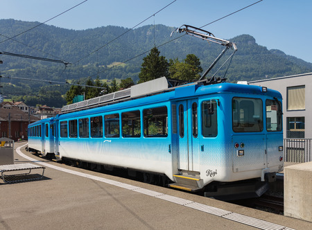 Arth, Switzerland - July 19, 2018: a train at a platform of the Arth-Rigi-Bahn railway station in the town of Arth. Arth-Rigi-Bahn is standard-gauge rack railway connecting the town of Arth with the summit of Mt. Rigi, operated by the Rigi-Bahnen AG compa