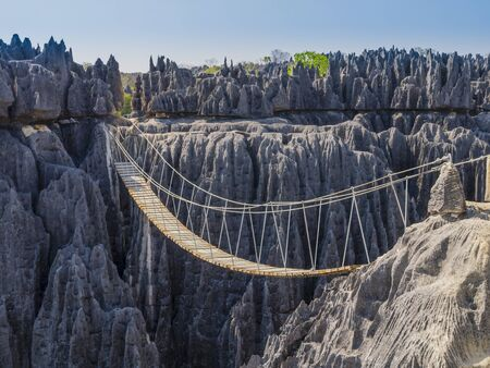 Photo pour Impressive hanging bridge over the canyon at Tsingy de Bemaraha National Park, Madagascar - image libre de droit