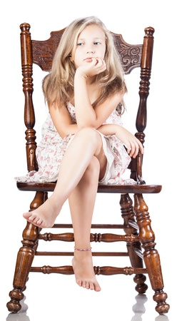 girl on a chair isolated white background