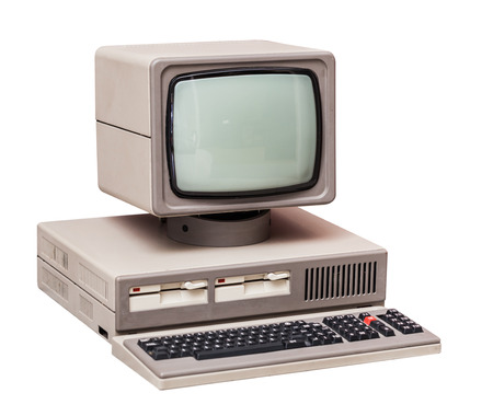 Photo for Old gray computer isolated on a white background - Royalty Free Image