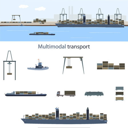 Ilustración de Multimodal transport and logistics. Container vessel, freight train and truck with a lot of containers in a sea harbor for multimodal transport. - Imagen libre de derechos