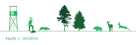 Illustration pour Hunt. Hunter with dog, boar, deer and trees. Green shade. - image libre de droit