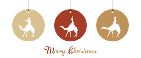 Illustration pour Christmas time. The three kings follow the star to Bethlehem. - image libre de droit