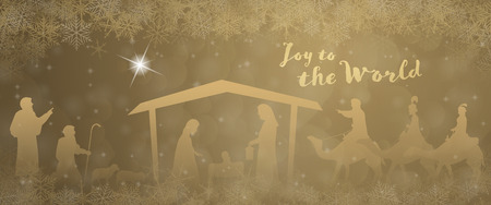Illustration for Christmas time. Nativity scene with Mary, Joseph, baby Jesus, shepherds and three kings in Christmas landscape. - Royalty Free Image