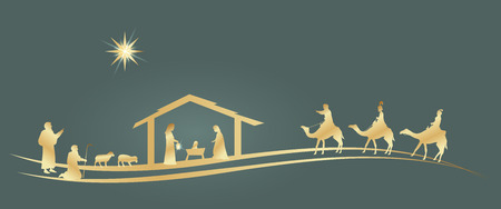 Illustration pour Christmas time. Nativity scene with Mary, Joseph, baby Jesus, shepherds and three kings. - image libre de droit