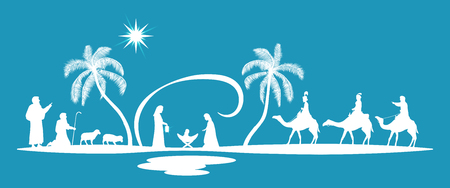 Illustration for Christmas time. Nativity scene with Mary, Joseph, baby Jesus, shepherds and three kings. - Royalty Free Image