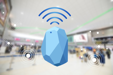 Foto de Beacon device home and office radar. Use for all situations. with network connect signal graphic and blur background at the airport - Imagen libre de derechos