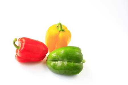 three peppers in different colors