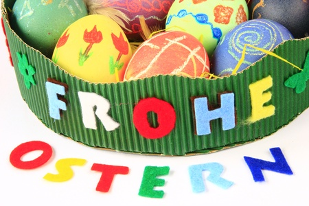 Easter nest with writing Frohe Ostern (happy Easter) with colorful Easter eggs