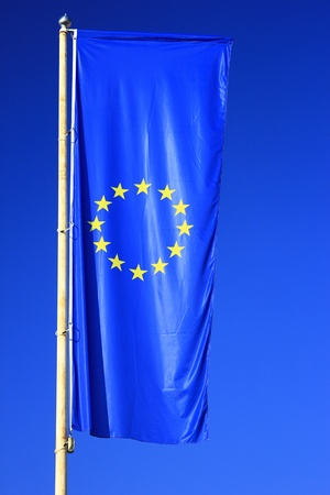 flag of the European Union before blue sky