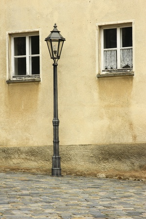 Street lights and windows in a small Bavarian town