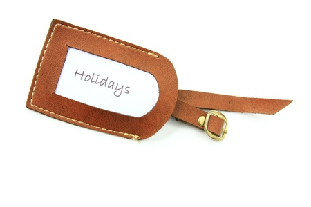 Luggage tag with the word  Holidays