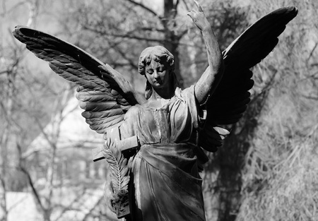 Old Angel statue in B/W