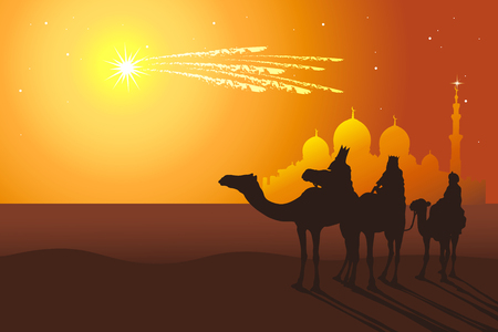 Illustration pour Three Kings: Melchior, Caspar, Balthazar follow the comet from orient vector illustration. Reyes Magos de Oriente holiday camel ride. - image libre de droit