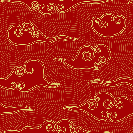Ilustración de Chinese style clouds red and gold seamless pattern - Imagen libre de derechos