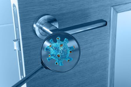 Photo for Virus cell on the door handle magnified image. Transmission of the infection medical concept. - Royalty Free Image