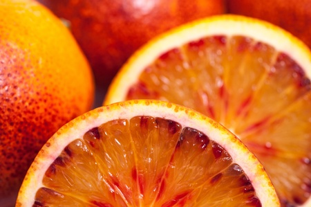 Close-up of several blood oranges