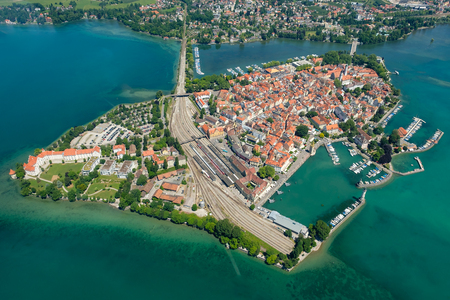 Aerial perspective of peninsula Lindau with port and Marina in summer