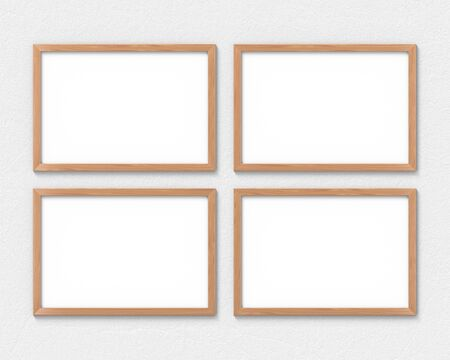Photo for Set of 4 horizontal wooden frames mockup hanging on the wall. Empty base for picture or text. 3D rendering. - Royalty Free Image