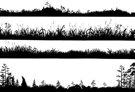 Illustration pour Realistic black and white vector set of silhouettes of the ground with grass, flowers, spikelets, trees on it. Hand drawn isolated illustrations for work, design, banners, landscapes. - image libre de droit