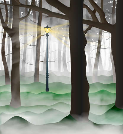 Illustration pour Mysterious urban park with a lot of tree trunks inside the clouds of grey and white fog. Lamp post shining up road between the woods. Vector illustration. - image libre de droit