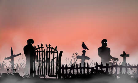 Illustration for Halloween related landscape with undead people, graveyard gates, fence and tombs between field grass. Zombies walking through the red dawn mist. Vector silhouette illustration - Royalty Free Image