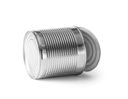 Photo for Open empty iron chrome tin can on a white background. Aluminum trash on insulation. - Royalty Free Image