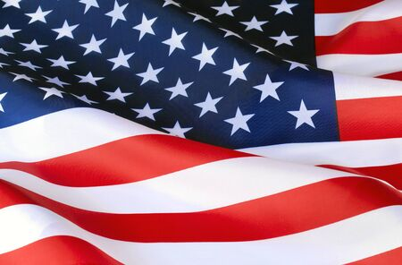 Photo pour American flag. Independence Day. Symbol, a sign of the patriot of the United States of America. Star-striped. Developing in the wind the flag of America. Universal American pride. - image libre de droit