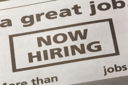 newspaper employment ad, Now Hiring, Employment concept