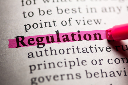 Photo pour Fake Dictionary, Dictionary definition of the word regulation. - image libre de droit