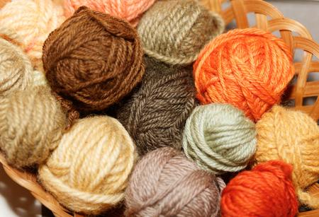 Foto de woolen colorful balls of yarn, mushroom dye. - Imagen libre de derechos