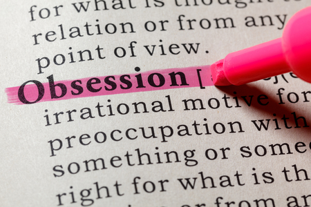 Photo for Fake Dictionary, Dictionary definition of the word obsession . including key descriptive words. - Royalty Free Image