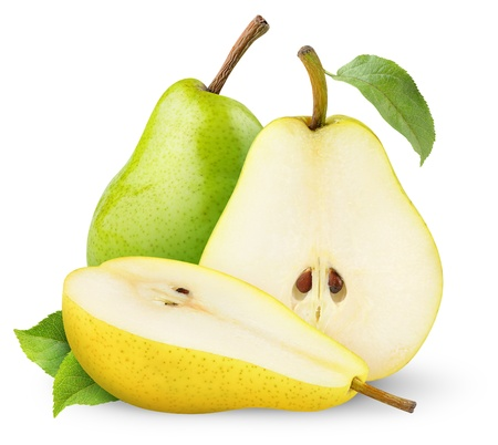 Green and yellow pears isolated on white