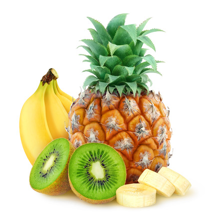 Photo pour Tropical fruits pineapple banana kiwi over white background with clipping path - image libre de droit