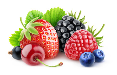 Various summer berries over white background with clipping path
